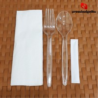 Sendok Garpu Set plastik bening ( sendok + garpu + tsk gigi + tissue)