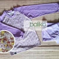 Piyama anak perempuan baliko bunga ungu - 4-5 tahun