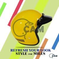 Helm Motor Sni Bogo List yellow + pet (tanpa kaca) bukan jpn retro
