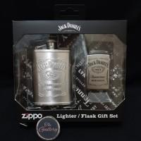 49080 JACK DANIELS LIGHTER AND FLASK SET ORIGINAL ZIPPO