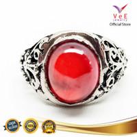 Cincin Pria Batu Merah Delima Model Etnik- VeE Cincin Alpaka Bakar