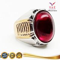 Cincin Pria Batu Merah Delima Dim 18x14 -VeE Cincin Titanium Kombinasi