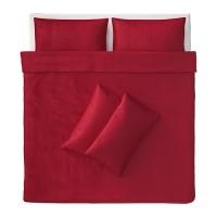 SALE! IKEA ANGSLILJA - Sarung Quilt dan 4 Sarung Bantal, Merah