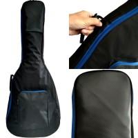 Tas gitar akustik / Softcase gitar akustik hitam garis biru