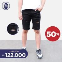 Celana Pendek Pria Skinny Jeans P&B Robek Hitam