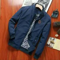 Jaket Harington Pria Bomber/Jaket Parasut Waterproof Navy Size M L XL