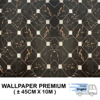 Wallpaper Dinding Stiker Walpaper Dinding Kotak 3D Hitam 45cmx 10m - KOTAK HITAM