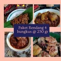 Paket Rendang 4 bungkus : Daging Sapi, Jengkol, Ayam Suir, Ikan Tuna