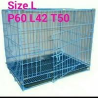 Kandang Besi Lipat Kucing, Anjing, Kelinci, 60x42x50 Khusus Grab