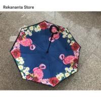 Payung Terbalik Motif Flamingo Blue Gagang C / Reverse Umbrella