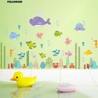 Stiker Dinding Decal Desain Sea World Fish Grass, Anti-Air