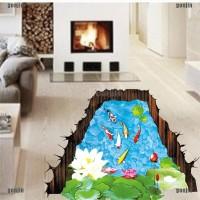 Gongjing3 Stiker Dinding Decal Desain Fish Pond 3D, Dapat Dicopot,