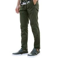 Celana chino panjang pria slimfit / chino skinny hijau army