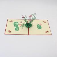 Kartu Ucapan Model 3D Kreatif Buatan Tangan Desain Lily untuk Hari