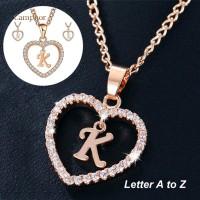 '' lovelycat26 Letters Alphabet A To Z Initial Cubic Zirconia Heart