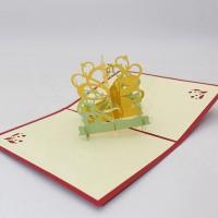 Kartu Ucapan Handmade Desain Kupu-Kupu Bunga 3D dengan Amplop
