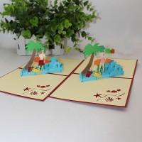 Kartu Ucapan Desain Pohon Kelapa 3D untuk Pantai
