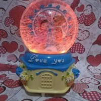Kotak Musik Bola Salju Pasangan LOVE YOU Lampu Blower