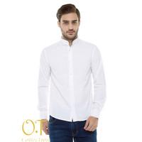 [basic sanghai white OT platinum] kemeja pria cotton premium putih - Putih, L