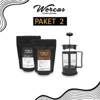 WORCAS Paket 2 Ngopi French Press   Paket Alat Kopi   Paket Kopi