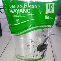 gelas plastik cap wayang 16 oz isi 50 pcs