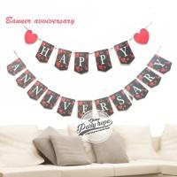baner happy anniversary hitam / banner aniv hitam motif love merah