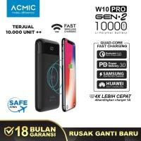 ACMIC W10PRO Gen2 10000mAh Fast Wireless Charge PowerBank QC 3.0 + PD