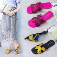 Sandal Teplek Wanita Motif Herms Printing