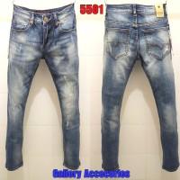 Celana jeans panjang GUESS PREMIUM dark navy ripped