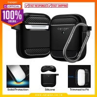 Case Airpods 2/1 Spigen Rugged Armor Carbon Fiber Softcase Slim Casing