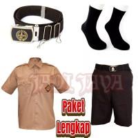 Satu Set Seragam Pramuka SD Laki Baju Pendek Celana Pendek