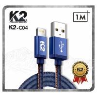 [GROSIR] Kabel Data DENIM K2 PREMIUM QUALITY K2-C04 IPHONE