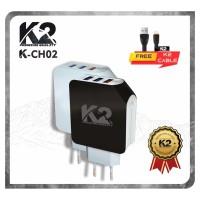 [GROSIR] 3 PORT USB Charger K2 Premium Quality [K2-CH02] QUALCOMM 3.0