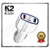 [GROSIR] CAR CHARGER K2 PREMIUM QUALITY 3PORT USB [CC01-K2] 3A