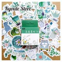 Sticker Deco Aesthetic Green 50 pcs Scrapbook DIY Planner Bujo Tumblr