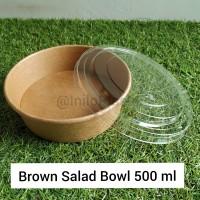 Brown Paper Salad Bowl 500 ml / Bowl Kertas Coklat 17 Oz + lid Bening