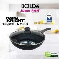 Bolde Wajan Hitam 28cm + Tutup Kaca Superpan Dark Knight Wokpan 28cm