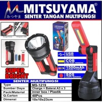 Senter + Emergency Multifungsi LED COB + SOS Baterai 18650 MS-1219