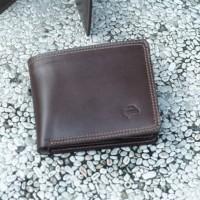 dompet bifold RFID blocker kulit asli, dompet lipat pria kulit asli