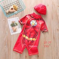 Baju Renang Anak Karakter Flash + Topi