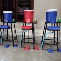 Wastafel tempat cuci tangan injak corona portable portabel kran keran