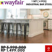 Sale - Industrial Bar Stool - Kursi Cafe / Bar Makan / Besi / Outdoor - Hitam