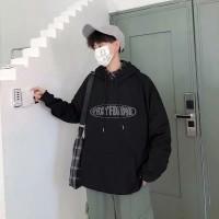 Sweater Kaos Unisex Lengan Panjang dengan Hoodie dan Ukuran Besar