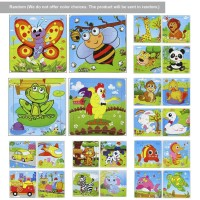 Mainan 9pcs Puzzle Jigsaw Kayu Gambar Kartun Hewan Untuk Awal