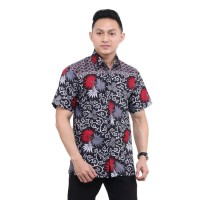MP Kemeja Batik Pria Lengan Pendek Abu Baju Batik Pria Kemeja Batik