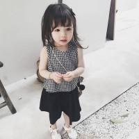 Setelan Rompi Kotak-Kotak Tanpa Lengan + Celana Longgar untuk Bayi