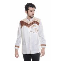 Baju koko Jas, JASKO bordir, kemeja pria TN 75 Putih