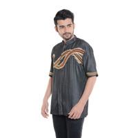 Baju Koko Pria Lengan Pendek Bordir Premium TN 907 Hitam