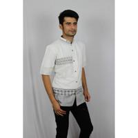 Baju Koko Pria Lengan Pendek Bordir Premium TN 79 Putih