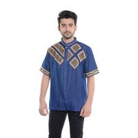 Baju Koko Pria Lengan Pendek Bordir Premium TN 904 Biru
